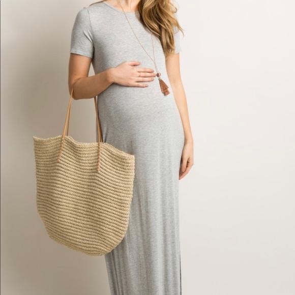 Pinkblush Dresses Heather Grey Basic Side Slit Maternity Maxi Dress Poshmark